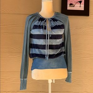 We the Free long sleeve striped v-neck top Small